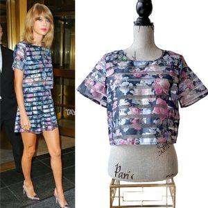 H&M Floral Pattern Organza Top